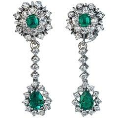 Emerald Diamond Day to Night Drop Earrings, 1950s