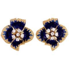 1960s Corletto Enamel Diamond Flower Italian Earrings