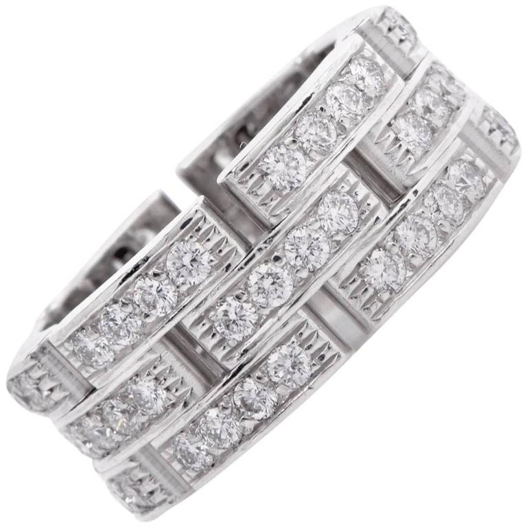 Cartier Diamond White Gold Maillon Panthère Wide Band Ring