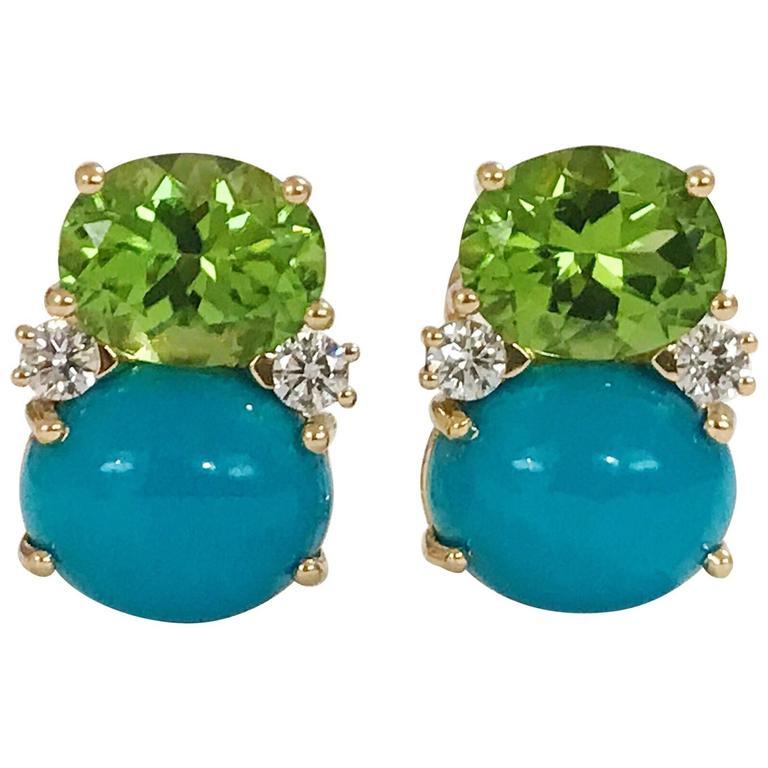 Peridot Turquoise Diamonds Medium Gum Drop Earrings  1