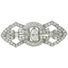 Art Deco Diamond Platinum Filigree Brooch