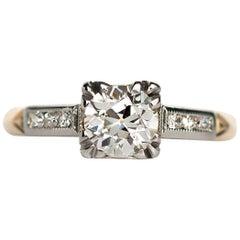 1930s .70 Carat Old European Cut Diamond Gold Platinum Engagement Ring