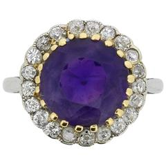 Art Deco Amethyst and Diamond Halo Ring, circa 1920s