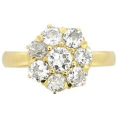 Antique 1.30 Carat Old Cut Diamond Daisy Cluster Ring, circa 1900s