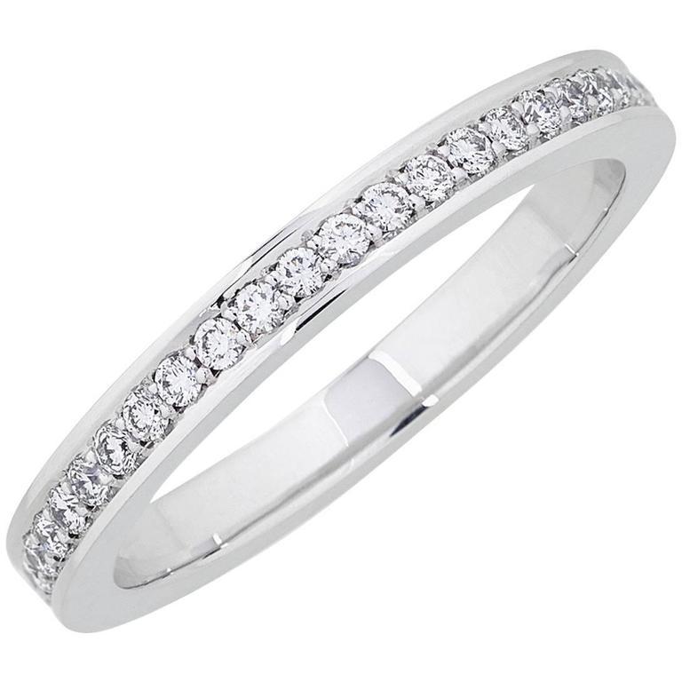White Gold Pave Set White Diamond Brilliant Full Eternity Wedding Band Ring