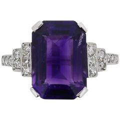 Art Deco Amethyst and Diamond Ring, circa 1920s