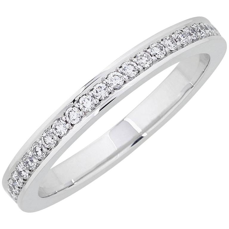 White Gold Pave Set Diamond Brilliant Half Eternity Wedding Band Ring For