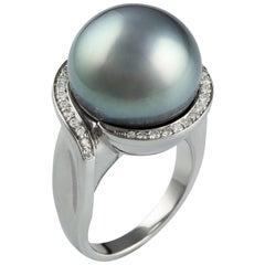 Lust Pearls Tahitian 15.9mm South Sea Pearl 0.31 Carat Diamond Ring