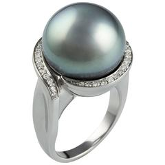Lust Pearls Tahitian 15.9mm South Sea Pearl 0.31 Carat Diamond Ring