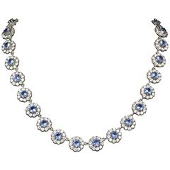 Blue and White Paste Necklace Sterling Silver Cluster Collar