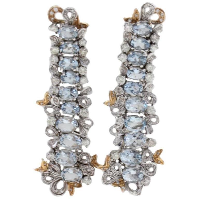 Gold Diamond Aquamarine Drop Earrings