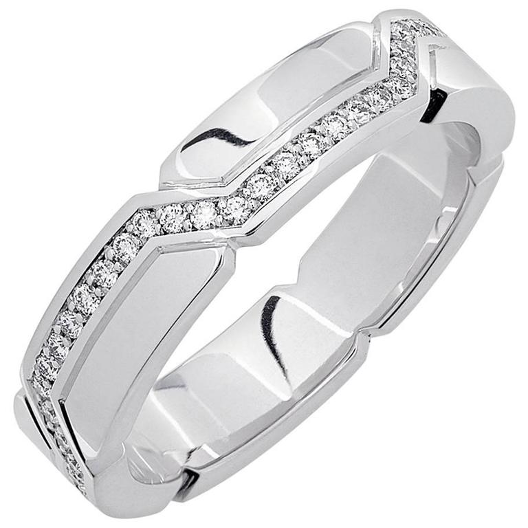 White Gold Pave Set White Diamond Brilliant Art Deco Wedding Band Ring
