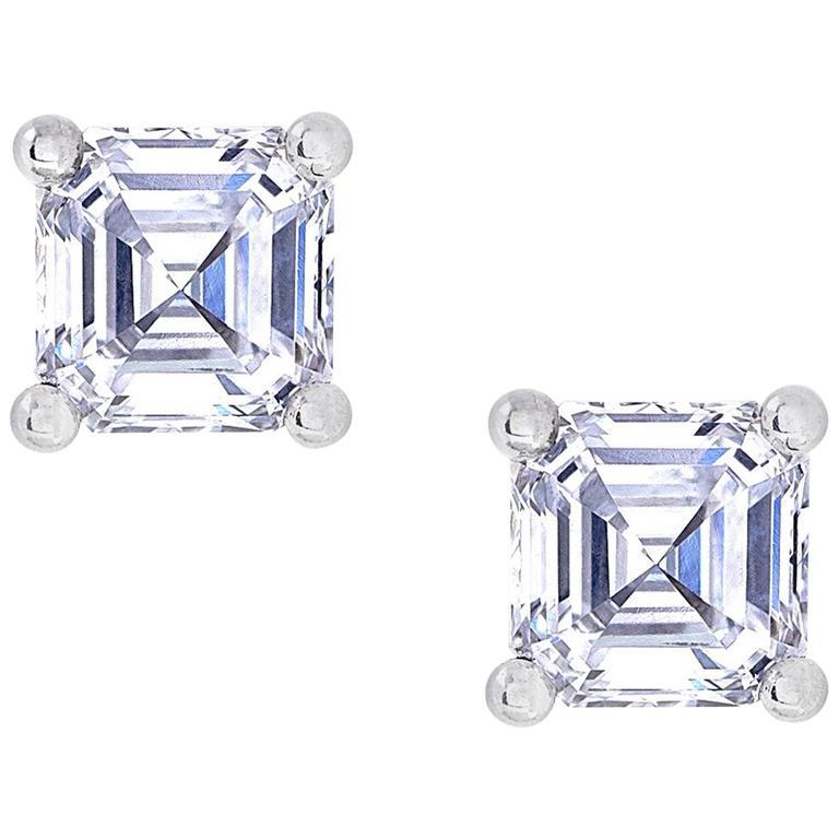 0.50 Carat Asscher Cut White Diamond White Gold Stud Earrings 1