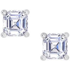 0.50 Carat Asscher Cut White Diamond White Gold Stud Earrings