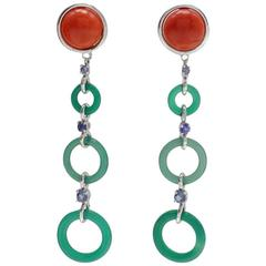Gold Sapphire Coral Stone Drop Earrings