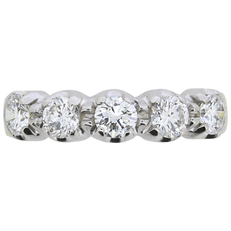 Vintage Five-Stone Round Brilliant Cut Diamond Ring, circa 1980s 1