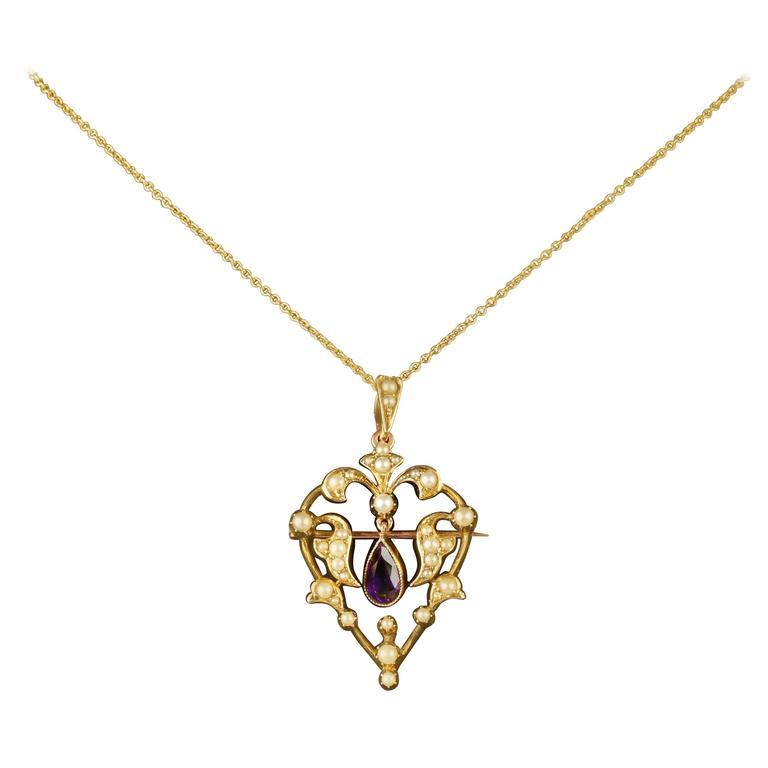 Antique Victorian Amethyst Gold Heart Necklace Pendant Brooch, circa 1900