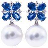 South Sea Pearl Oval Shape Sapphire Diamond white gold Dangle Earrings