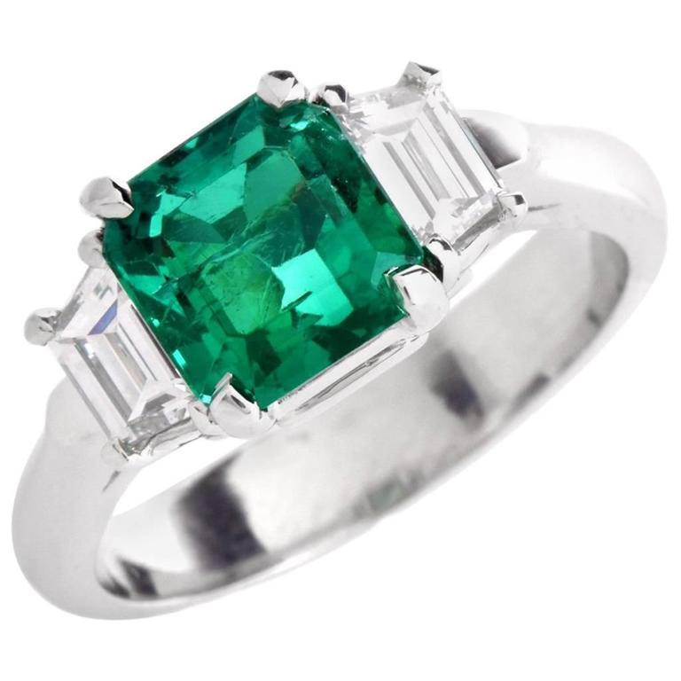 Certified Asscher-Cut GIA Emerald Diamond Platinum Three-Stone Ring