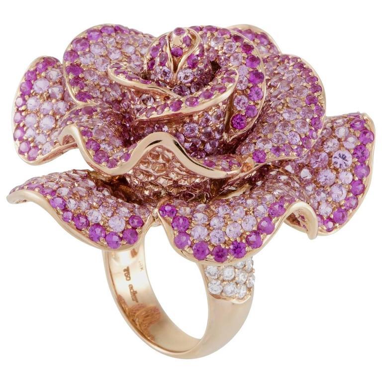 Fabulous Adler Pink Sapphire Diamond Rose Gold Flower Cocktail Ring at 1stdibs PQ97