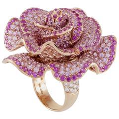 Adler Pink Sapphire Diamond Rose Gold Flower Cocktail Ring