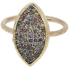 Multi Sapphire Silver and Gold Marquise Shaped Ring