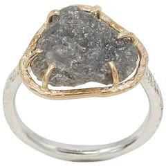 Raw Diamond Sterling Silver Gold Ring