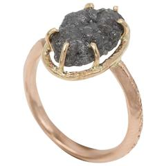 Raw Diamond Set in Gold Solitaire Ring