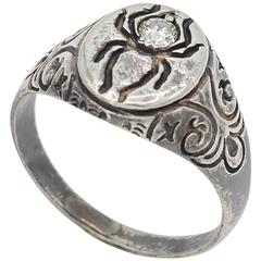 Diamond Sterling Silver Spider Signet Ring