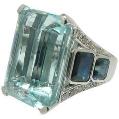 38.20 Carat Aquamarine Sapphire Diamond White Gold Ring
