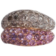 Duo of Wavy Pave-Set Pink Sapphire and Grey Diamonds Band Rings 18 K Gold