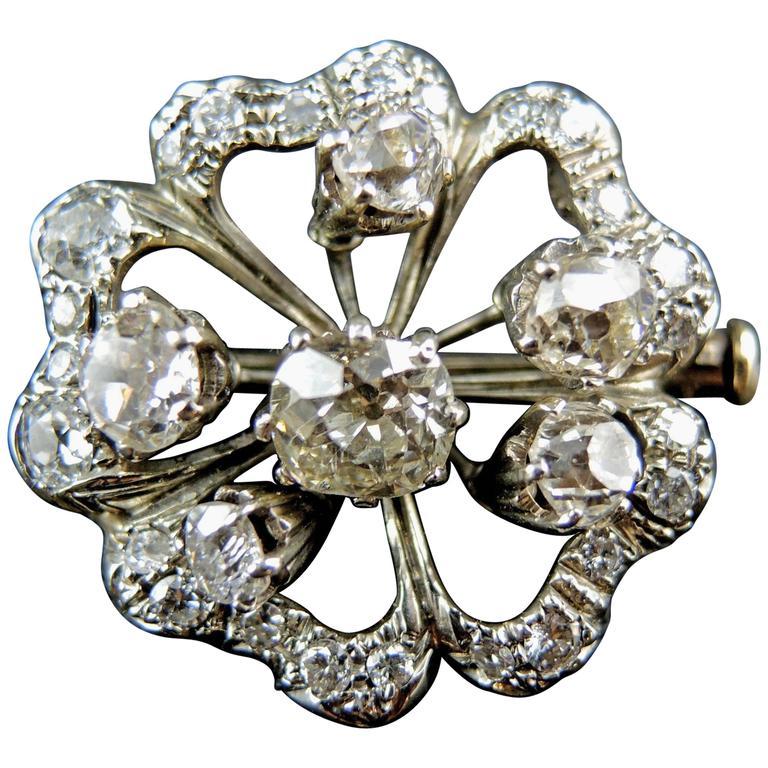 Trembleuse Flower Napoleon III Pin Brooch / Pendant with Diamonds