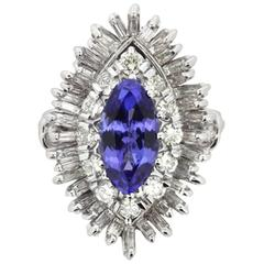 Vintage 2.46 Carat Tanzanite and Diamond Cocktail Ring, circa 1970s