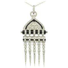 Art Deco-Inspired 2.50 Carat Diamond and Onyx Pendant
