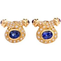 Sapphire Diamond Yellow Gold Clip-On Earrings