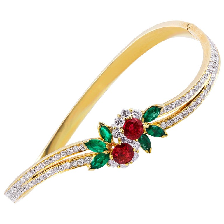Ruby Emerald Diamond Gold Bangle Bracelet For Sale