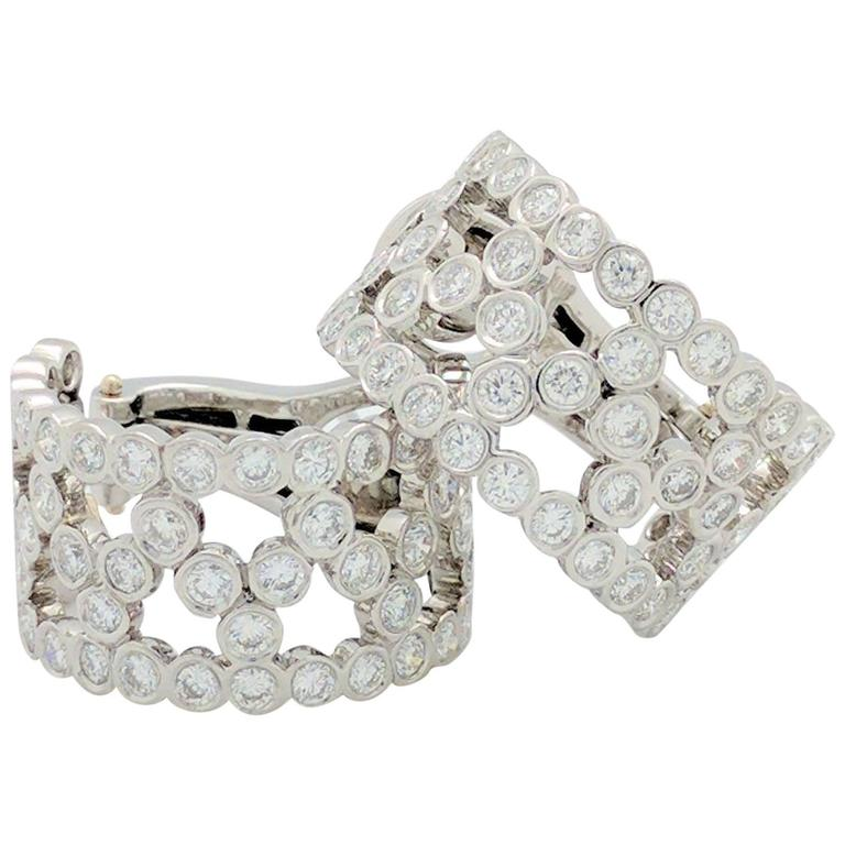 Tiffany & Co. Platinum Bubbles Diamond Hoop Earrings