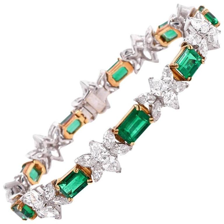 1980s Certified GIA Emerald Diamond Gold Platinum Bracelet