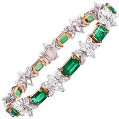 1980s Certified GIA Emerald Diamond Gold Platinum Bracelet