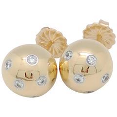 Tiffany & Co. Etoile Diamond 18 Karat Gold and Platinum Ball Earrings