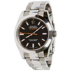 Rolex Stainless Steel Milgauss Oyster Perpetual Black Dial Automatic Wristwatch