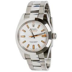 Rolex Stainless Steel White Dial Milgauss Oyster Perpetual Automatic Wristwatch