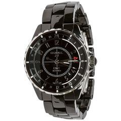 Chanel Stainless Steel Black Ceramic J12 GMT Automatic Wristwatch