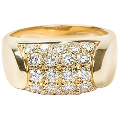 Bulgari Tronchetto Pave Diamonds Yellow Gold Ring