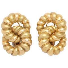Gold Double Cable Clip-On Earring