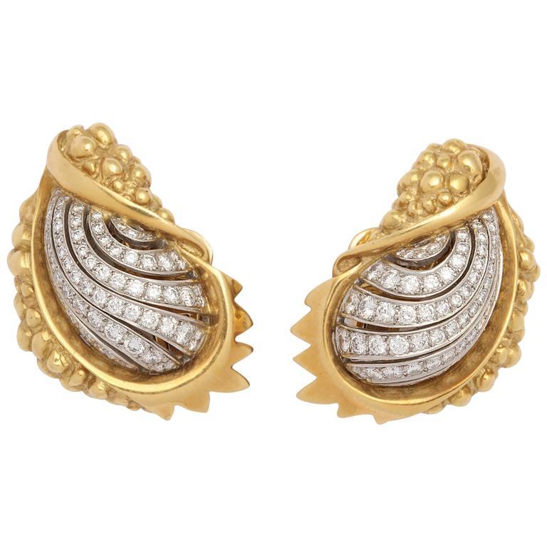 Marilyn Cooperman Diamond Gold Platinum Earrings