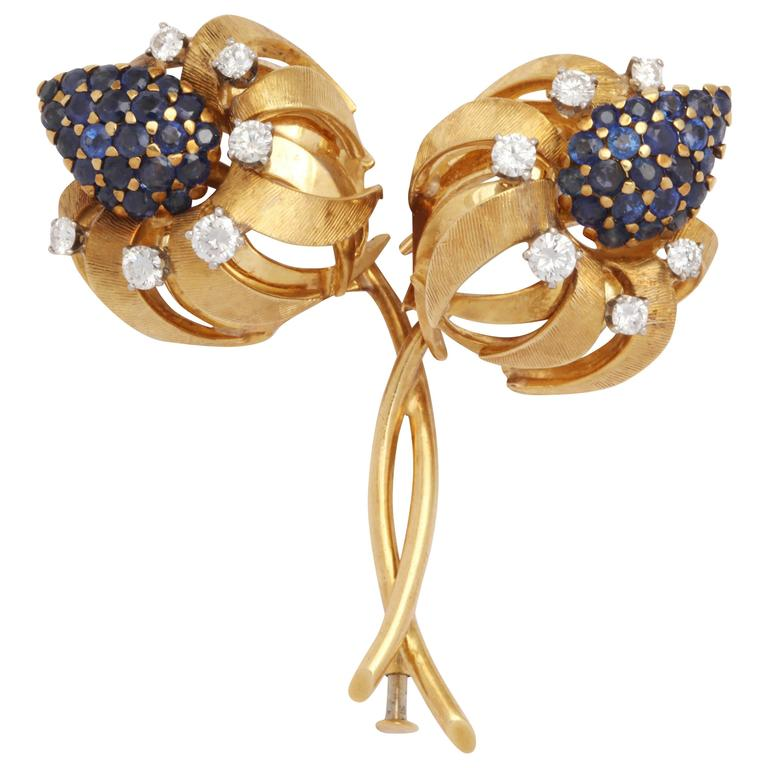Natural Sapphire Diamond Gold Flower Pin