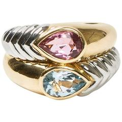 Bulgari Pear Cut Pink and Blue Stones Two Color Gold Double Ring
