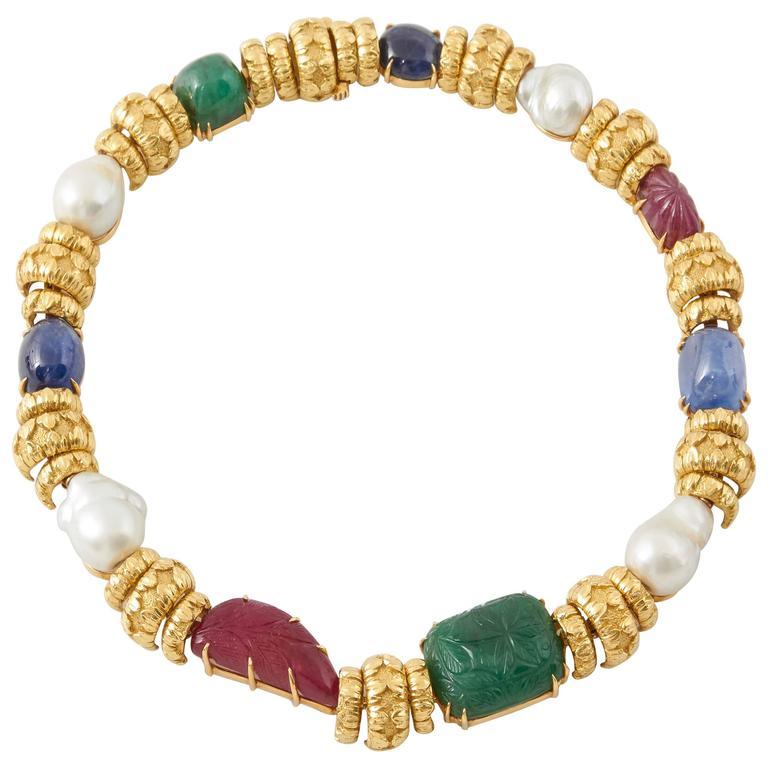 David Webb South Sea Pearl Cabochon Ruby Sapphire Emerald Necklace