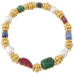 David Webb South Sea Pearl Cabochon Ruby Sapphire Emerald Necklace